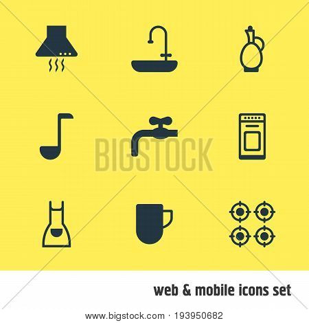Vector Illustration Of 9 Restaurant Icons. Editable Pack Of Soup Spoon, Tea Cup, Oven And Other Elements.