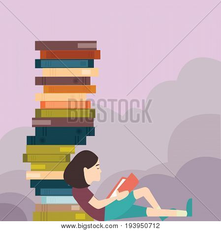 young girl reading book with pile of book lot vector
