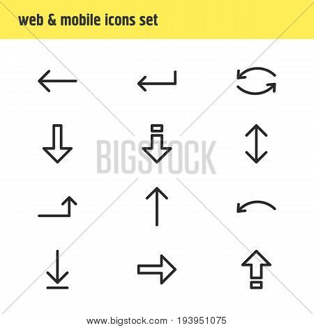 Vector Illustration Of 12 Arrows Icons. Editable Pack Of Turn, Shrift, Download And Other Elements.