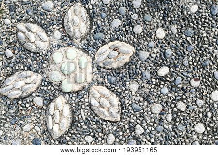 Close-up On Pressure Points Pebble Stones At Foot Reflexology Park