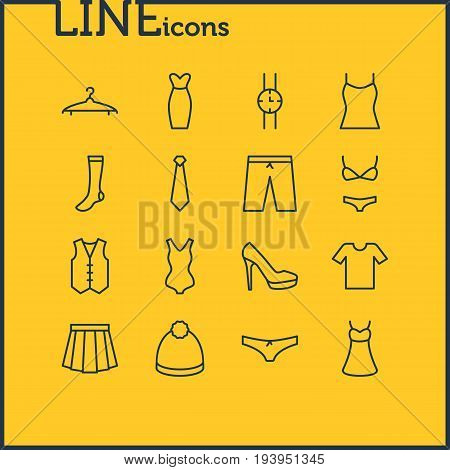 Vector Illustration Of 16 Garment Icons. Editable Pack Of Apparel, Swimwear, Swimsuit And Other Elements.