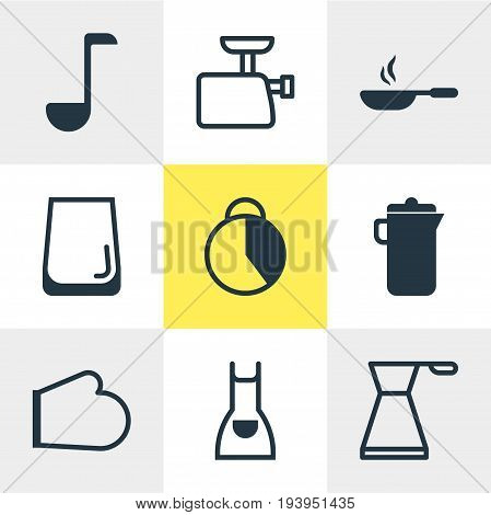 Vector Illustration Of 9 Restaurant Icons. Editable Pack Of Frying Pan, Jug, Timekeeper And Other Elements.