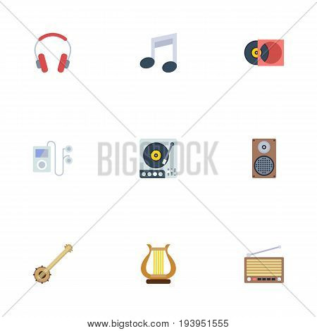 Flat Icons Tone Symbol, Audio Box, Retro Disc And Other Vector Elements. Set Of Melody Flat Icons Symbols Also Includes Player, Vinyl, Audio Objects.