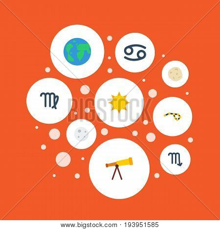 Flat Icons Horoscope, Virgin, Solar And Other Vector Elements. Set Of Galaxy Flat Icons Symbols Also Includes Sun, Satellite, Crab Objects.