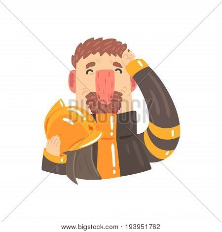 Firefighter in protective suit holding safety helmet in his hands cartoon character vector Illustration isolated on a white background