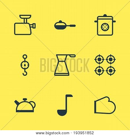 Vector Illustration Of 9 Cooking Icons. Editable Pack Of Furnace, Pan, Teakettle And Other Elements.