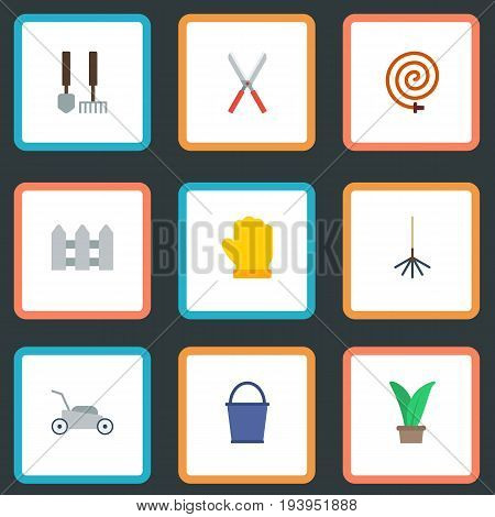 Flat Icons Scissors, Tools, Fence And Other Vector Elements. Set Of Horticulture Flat Icons Symbols Also Includes Grower, Garden, Hosepipe Objects.