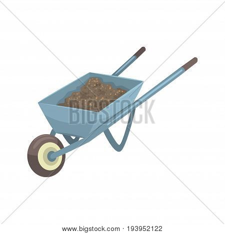 Wheelbarrow full of soil or compost cartoon vector Illustration isolated on a white background