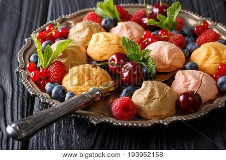 Color Shortbread Biscuit With Fresh Berries And Mint Close-up. Horizontal