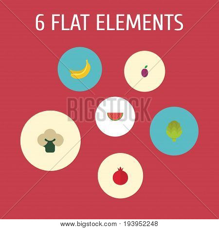 Flat Icons Garnet, Apricot, Broccoli And Other Vector Elements. Set Of  Flat Icons Symbols Also Includes Banana, Cauliflower, Pomegranate Objects.