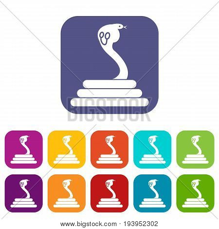 Cobra icons set vector illustration in flat style In colors red, blue, green and other