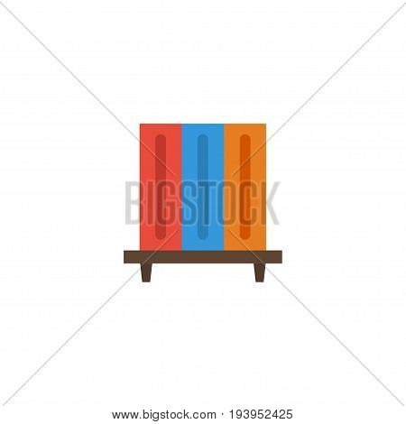 Flat Icon Bookshelf Element. Vector Illustration Of Flat Icon Bookshop Isolated On Clean Background. Can Be Used As Bookshelf, Bookcase And Bookshop Symbols.