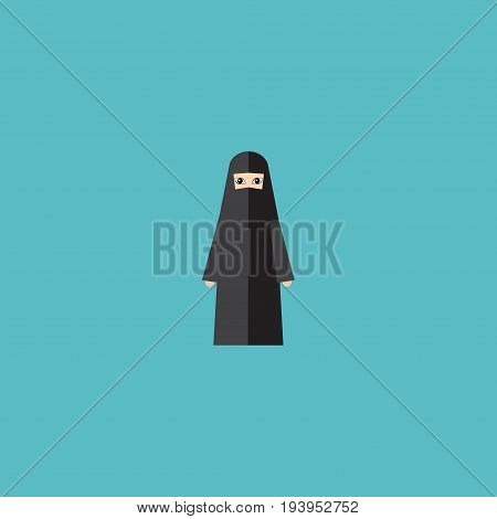 Flat Icon Arabian Element. Vector Illustration Of Flat Icon Muslim Woman Isolated On Clean Background. Can Be Used As Arabian, Muslim And Woman Symbols.