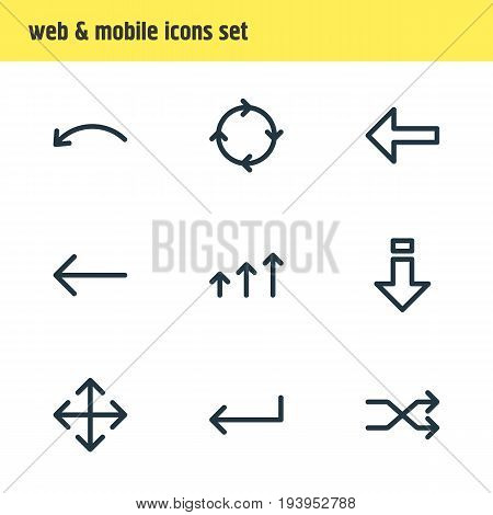 Vector Illustration Of 9 Direction Icons. Editable Pack Of Randomize, Left, Direction Elements.