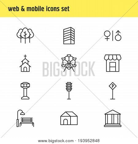 Vector Illustration Of 12 City Icons. Editable Pack Of Awning, Semaphore, Courthouse And Other Elements.