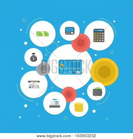 Flat Icons Teller Machine, Billfold, Atm And Other Vector Elements. Set Of Banking Flat Icons Symbols Also Includes Change, Finance, Stack Objects.