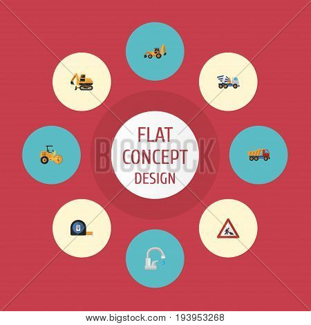Flat Icons Steamroller, Van, Cement Blender And Other Vector Elements. Set Of Construction Flat Icons Symbols Also Includes Road, Concrete, Tape Objects.