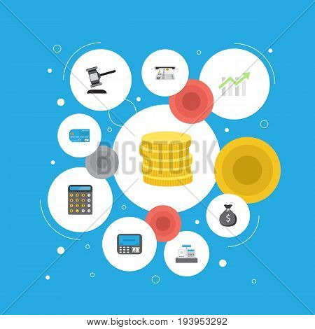 Flat Icons Finance Sack, Atm, Payment And Other Vector Elements. Set Of Finance Flat Icons Symbols Also Includes Accounting, Till, Payment Objects.