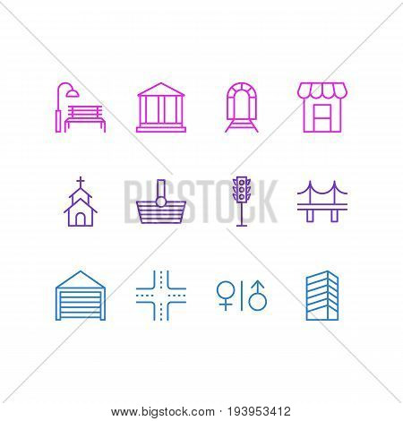 Vector Illustration Of 12  Icons. Editable Pack Of Awning, Intersection, Parking And Other Elements.