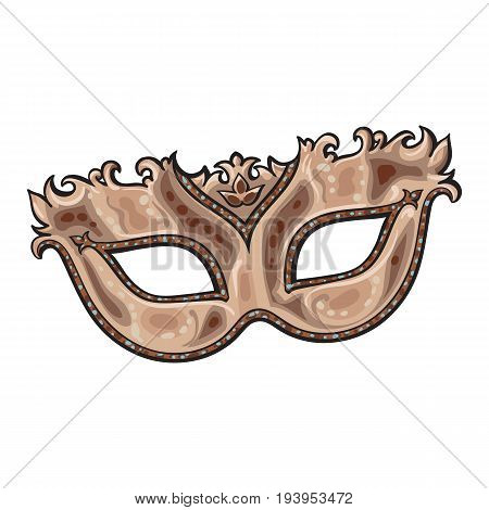 Beautifully decorated golden Venetian carnival mask with glitter and ornaments, sketch style vector illustration isolated on white background. Realistic hand drawing of purple carnival, Venetian mask