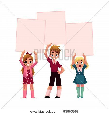 Three kids holding blank empty posters over head, cartoon vector illustration isolated on white background. Three little kids, children holding empty, blank posters, boards