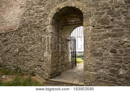 Doorway of the old roofless Norman church of St Nicholas in Uphill near Weston Super Mare