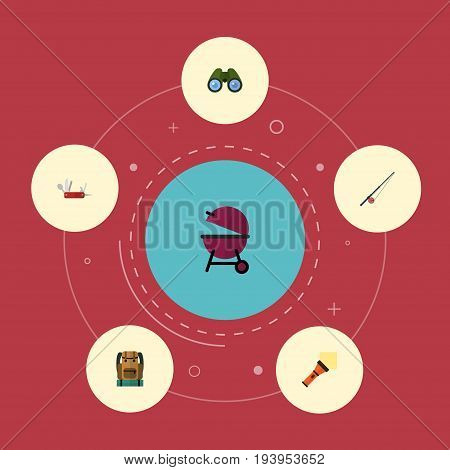 Flat Icons Penknife, Bag, Zoom And Other Vector Elements. Set Of Encampment Flat Icons Symbols Also Includes Baggage, Appetizer, Clash Objects.