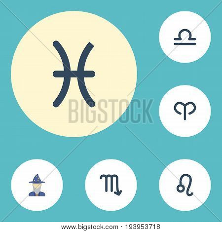 Flat Icons Ram, Scales, Augur And Other Vector Elements. Set Of Galaxy Flat Icons Symbols Also Includes Pisces, Astrologer, Leo Objects.