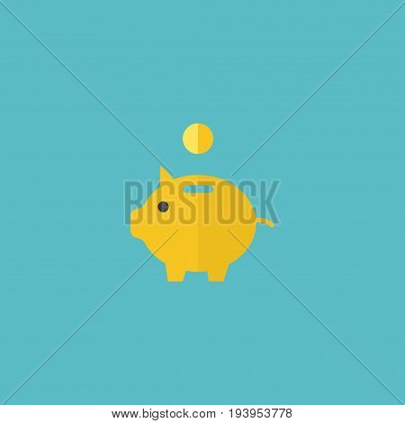 Flat Icon Piggy Bank Element. Vector Illustration Of Flat Icon Money Box Isolated On Clean Background. Can Be Used As Piggy, Savings And Money Symbols.