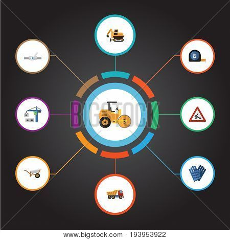 Flat Icons Caution, Steamroller, Handcart Vector Elements. Set Of Industry Flat Icons Symbols Also Includes Pushcart, Steamroller, Truck Objects.