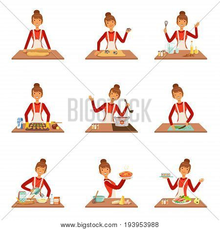 Smiling woman chef cook in white apron baking and preparing a variety of dishes, set of colorful detailed vector Illustrations isolated on white background
