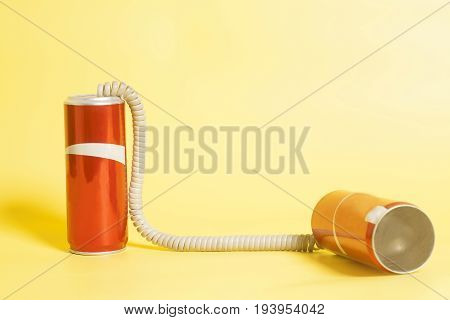 Tin can phone . Communication concept .