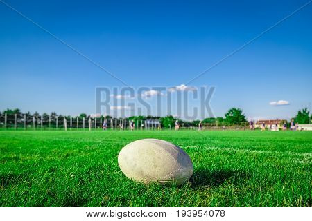 Close up of rugby ball on court during the game
