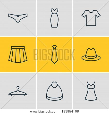Vector Illustration Of 9 Clothes Icons. Editable Pack Of Sarafan, Pompom, Casual And Other Elements.