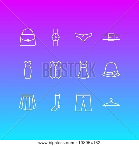 Vector Illustration Of 12 Garment Icons. Editable Pack Of Panties, Sarafan, Panama And Other Elements.