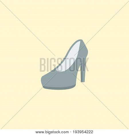 Flat Icon Heeled Shoes Element. Vector Illustration Of Flat Icon Sandal Isolated On Clean Background. Can Be Used As Sandal, Heeled And Shoes Symbols.