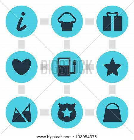 Vector Illustration Of 9 Location Icons. Editable Pack Of Heart, Landscape, Map Information Elements.