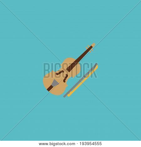 Flat Icon Violin Element. Vector Illustration Of Flat Icon Fiddle Isolated On Clean Background. Can Be Used As Violin, Fiddle And Orchestra Symbols.