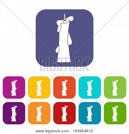 Church candle icons set vector illustration in flat style In colors red, blue, green and other
