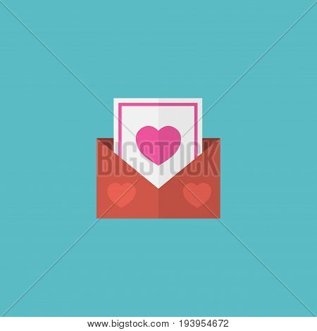 Flat Icon Postcard Element. Vector Illustration Of Flat Icon Envelope Isolated On Clean Background. Can Be Used As Postcard, Envelope And Heart Symbols.