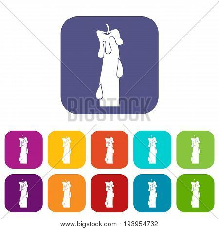 Waxy candle icons set vector illustration in flat style In colors red, blue, green and other