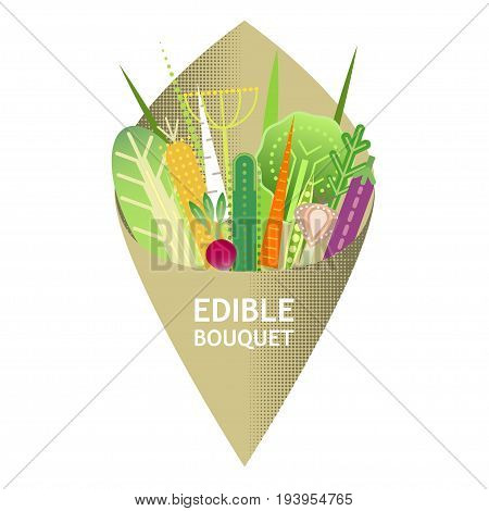 Vector illustration of original edible bouquet of flat geometric vegetables wrapped in craft paper. For posters advertising of raw food or delivery.