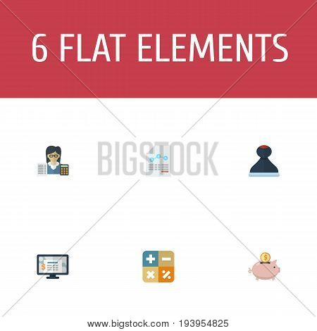 Flat Icons Paper, Accounting System, Moneybox And Other Vector Elements. Set Of Accounting Flat Icons Symbols Also Includes Algebra, Software, Math Objects.