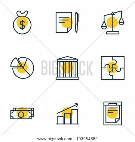 Vector Illustration Of 9 Business Icons. Editable Pack Of Chart, Riddle, Building And Other Elements.