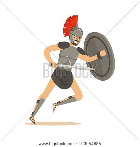 Roman warrior character, man wearing roman soldier costume vector Illustration isolated on a white background