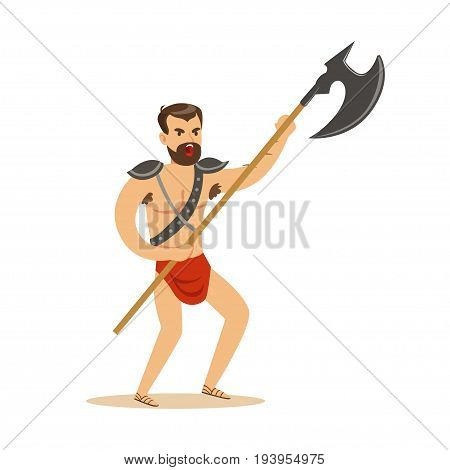 Warrior character, naked man in a red loincloth with poleaxe vector Illustration isolated on a white background