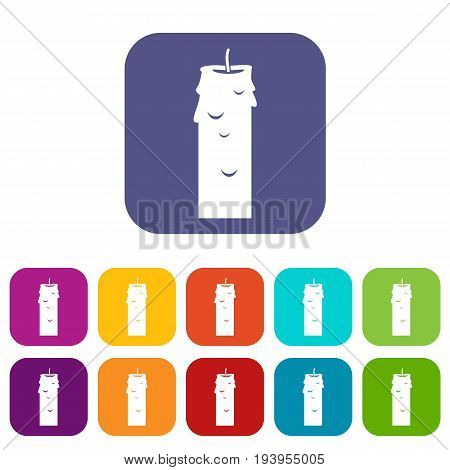 Paraffin candle icons set vector illustration in flat style In colors red, blue, green and other