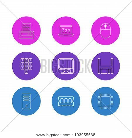 Vector Illustration Of 9 Notebook Icons. Editable Pack Of Number Keypad, Laptop, Phone Near Computer And Other Elements.