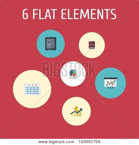 Flat Icons Safe, Pie Bar, Net Income And Other Vector Elements. Set Of Registration Flat Icons Symbols Also Includes Deposit, Safe, Book Objects.