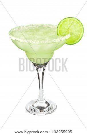 Cocktail classic Margarita with lime and salt, isolated on white background.